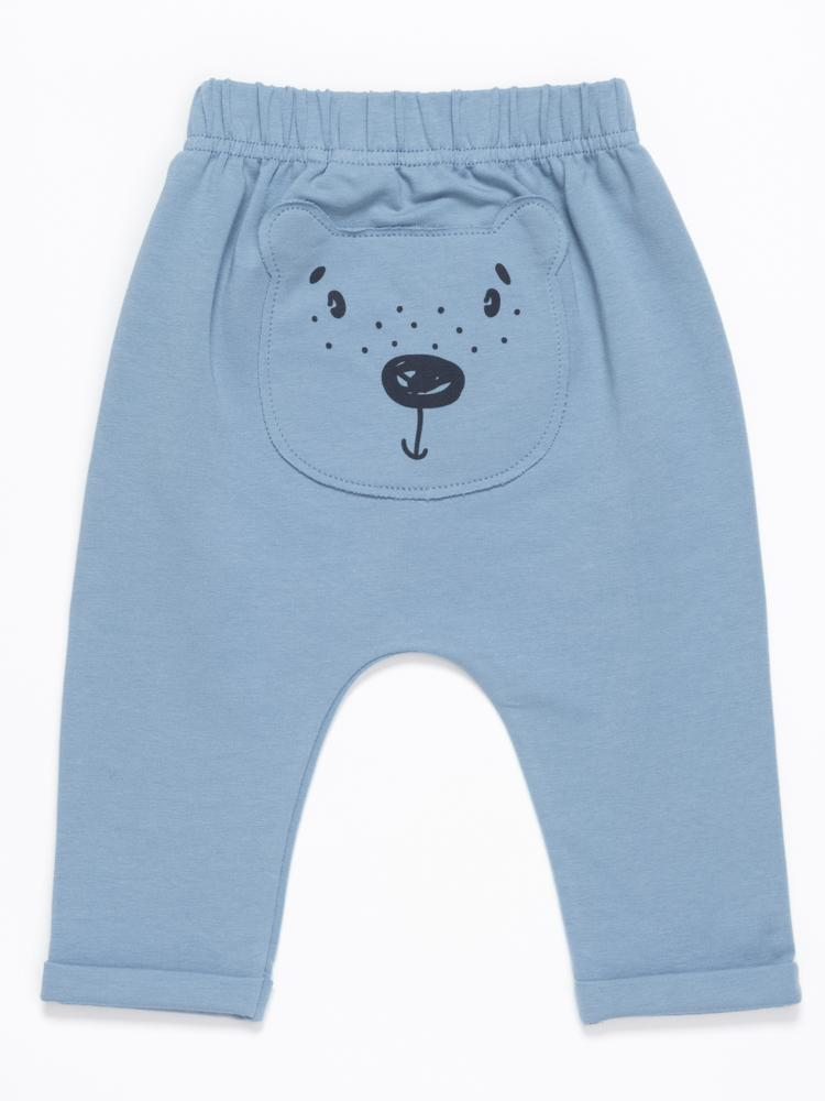 Artie - Bear Boo!- Baby Blue French Terry Bottoms with Bear Bum Patch! - Stylemykid.com