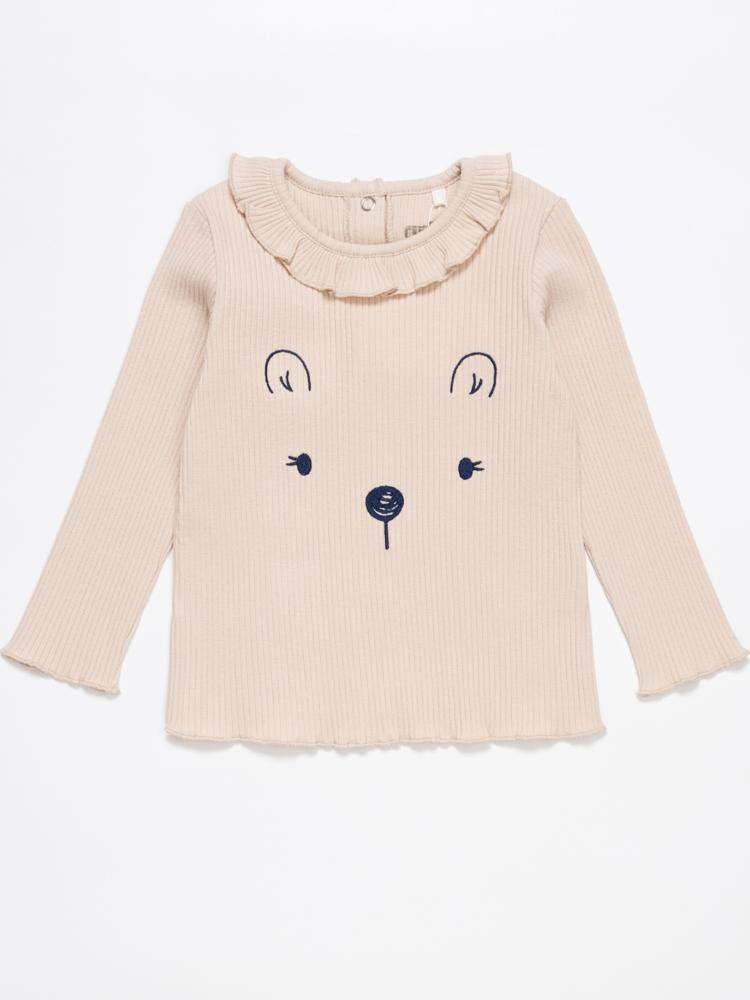 Artie - Princess Bear - Ribbed Pale Pink Long Sleeve Embroidered Top with Ruffled Neck - Stylemykid.com