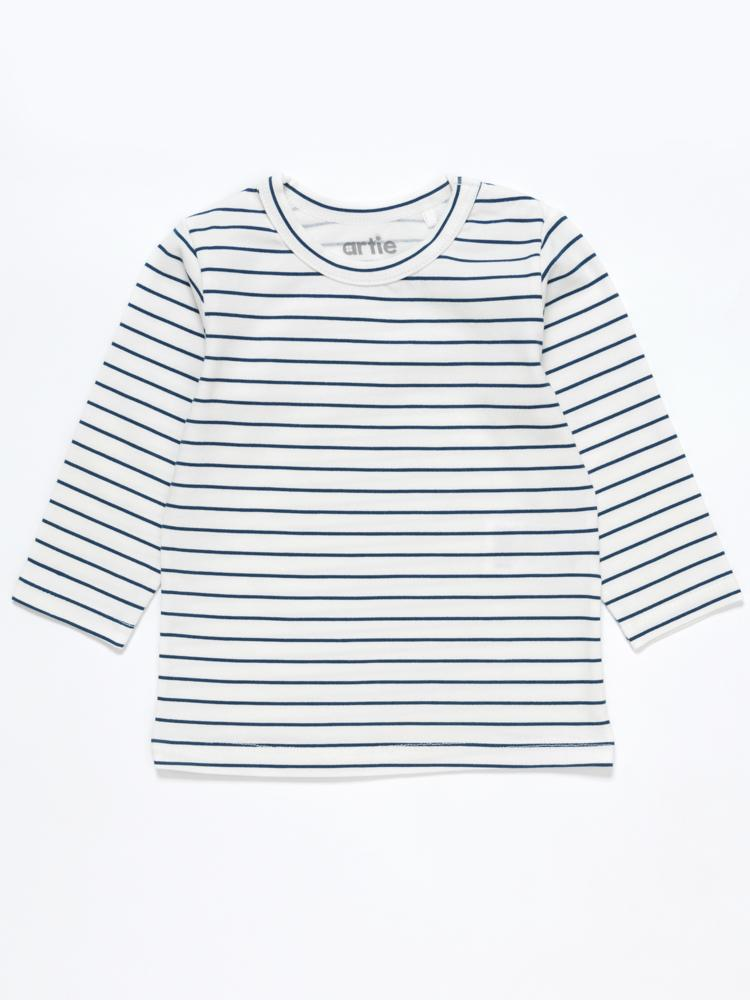 Artie - Bear Boo! White & Blue Striped Long Sleeve Top - Stylemykid.com