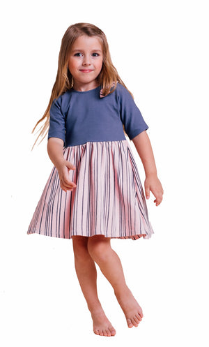 Artie - Super Stripey Dress -  Girls Blue and Pink Dress with Navy Stripes - Stylemykid.com