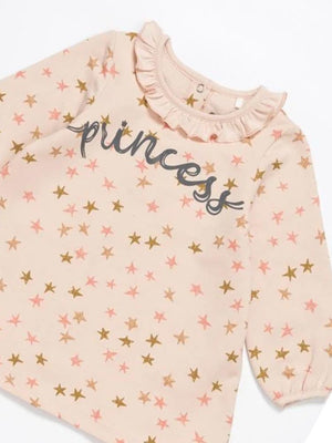 Artie - Princess Bear Starry Pale Pink Girls French Terry Dress with Ruffled Neck - Stylemykid.com