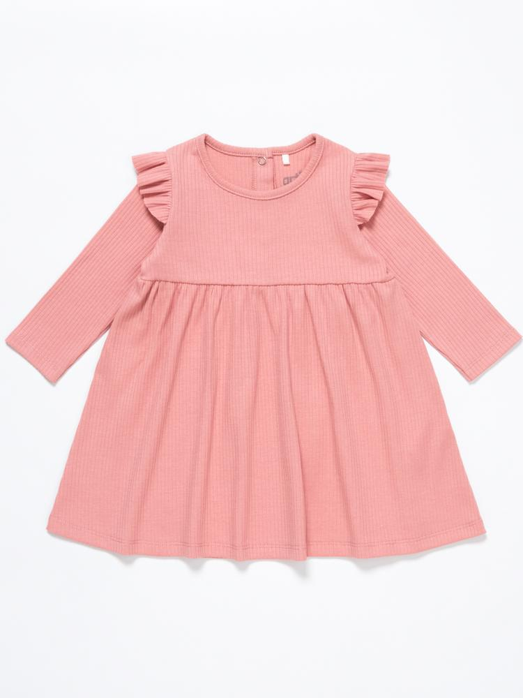 Artie - Pink Girls Ribbed Dress with Ruffles - Rose Forest - Stylemykid.com