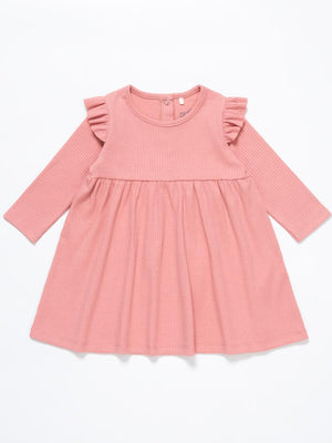 Artie - Rose Forest Ribbed Pink Baby Girl Dress with Ruffles - Stylemykid.com