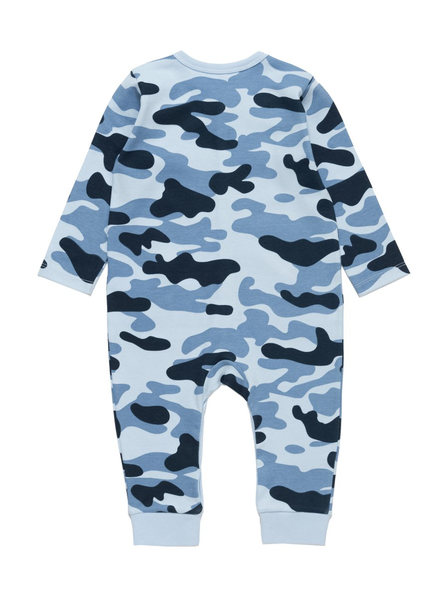 Artie - Triple Blue Camouflage Patterned Sleepsuit - Stylemykid.com