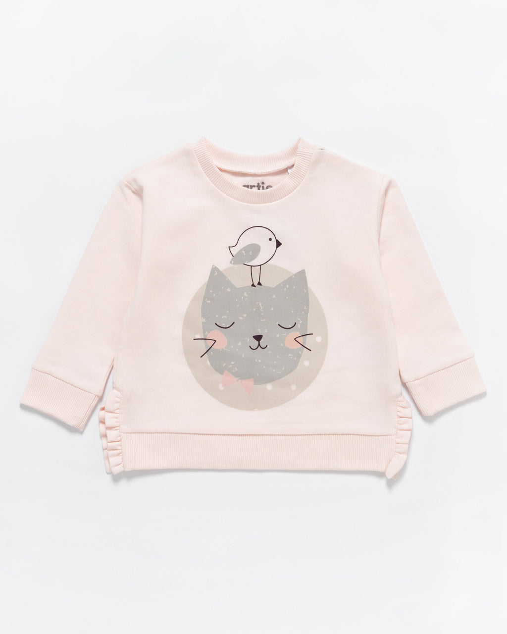 Artie - Kitty Cat Pink Frill Sweatshirt - Stylemykid.com