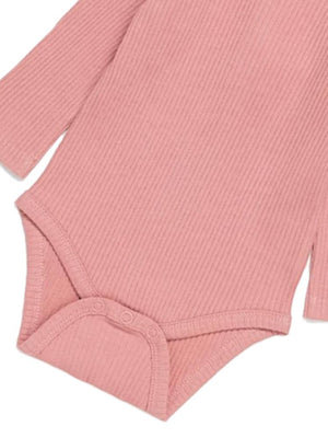 Artie - Rose Forest Ribbed Pink Baby Girls Bodysuit with Ruffles - Stylemykid.com