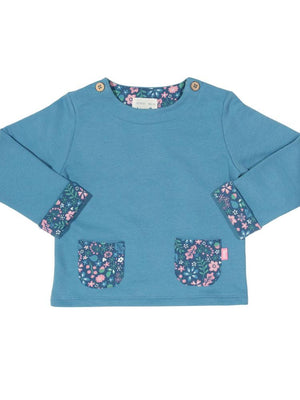 KITE Organic - Girls Blue Sweatshirt with Floral Print from 0-3 months - Stylemykid.com