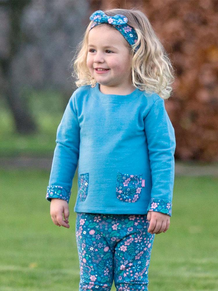 Blue Organic Girls Sweatshirt - KITE - Stylemykid.com