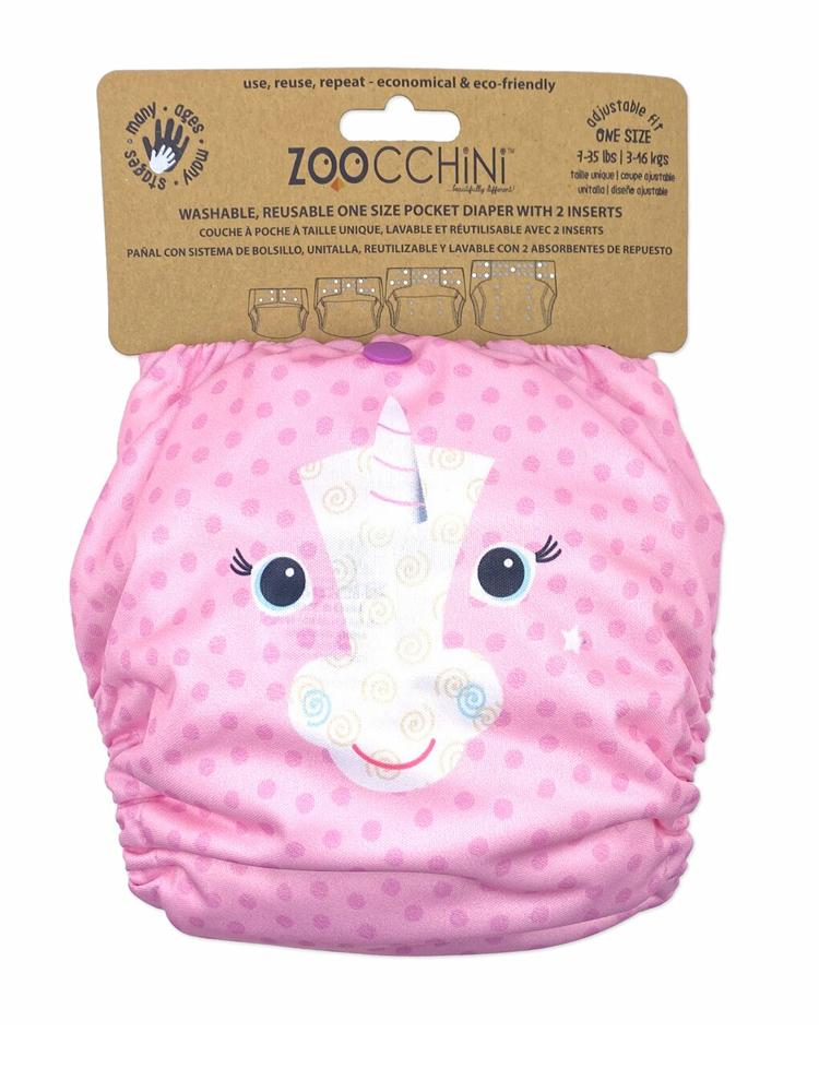 Zoocchini - Washable Reusable Cloth Pocket Nappy with 2 Inserts - Allie the Alicorn - Stylemykid.com