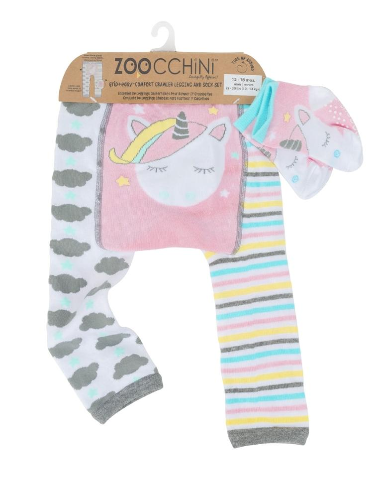 Zoocchini - Baby Leggings & Socks Set - Grip+Easy™ Comfort Crawlers - Allie the Alicorn - Stylemykid.com