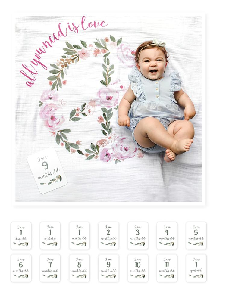 Lulujo - Babys 1st Year - All You Need Is Love - Blanket & Milestone Cards Set - Stylemykid.com