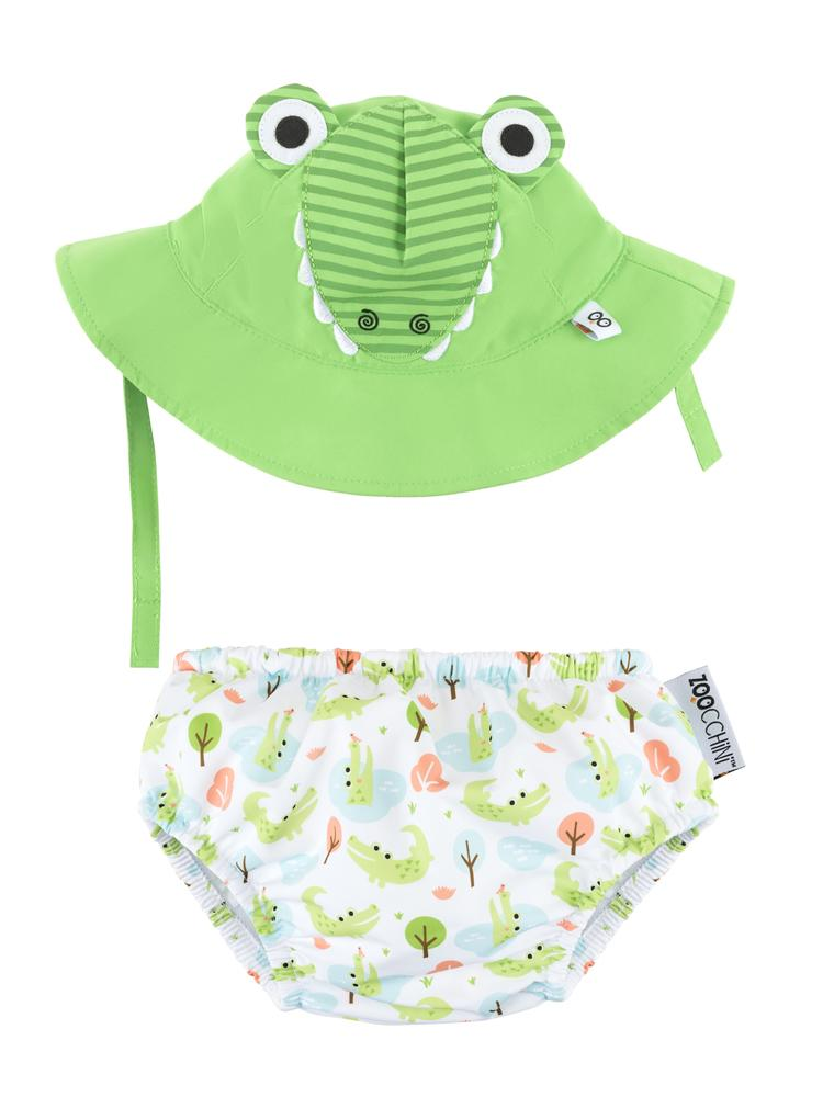 Zoocchini - Baby UPF50 Swim Nappy & Sun Hat Set - Alligator - Stylemykid.com