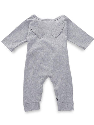 Grey Baby Tie-Wrap Sleepsuit with Angel Wings Detail - Stylemykid.com