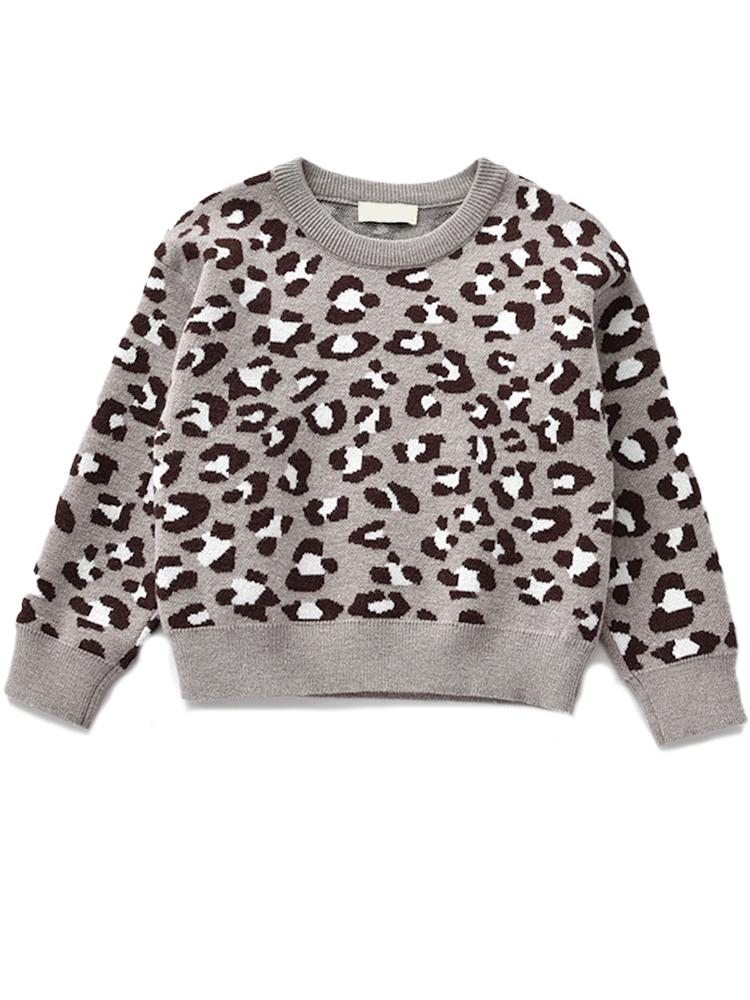 Animal Power Girls White & Black Animal Print Jumper - Snow Leopard Grey - Stylemykid.com