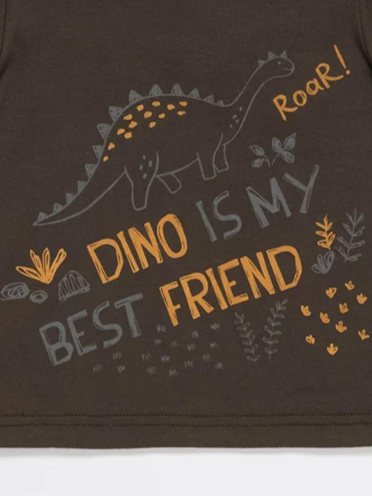 Dino Best Friend Grey Baby and Boy T Shirt - Stylemykid.com