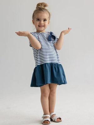 Blue and White striped Sailor Baby and Girls Dress - Stylemykid.com