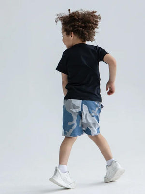 Artie - Blue & Grey Camo French Terry Baby and Boy Shorts - Stylemykid.com