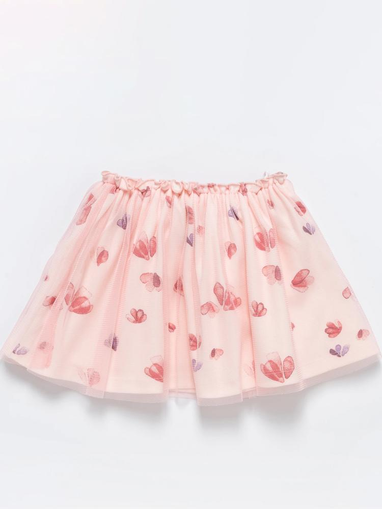 Artie - Tulle Flowered Pink Double Layer Girls Tutu Skirt - Stylemykid.com