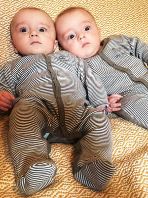 Artie - Grey & White Striped Footed Baby Sleepsuit - Stylemykid.com