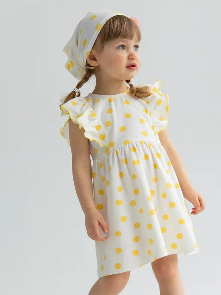 Yellow and White Polka Dot Baby and Girl Frill Dress - Stylemykid.com