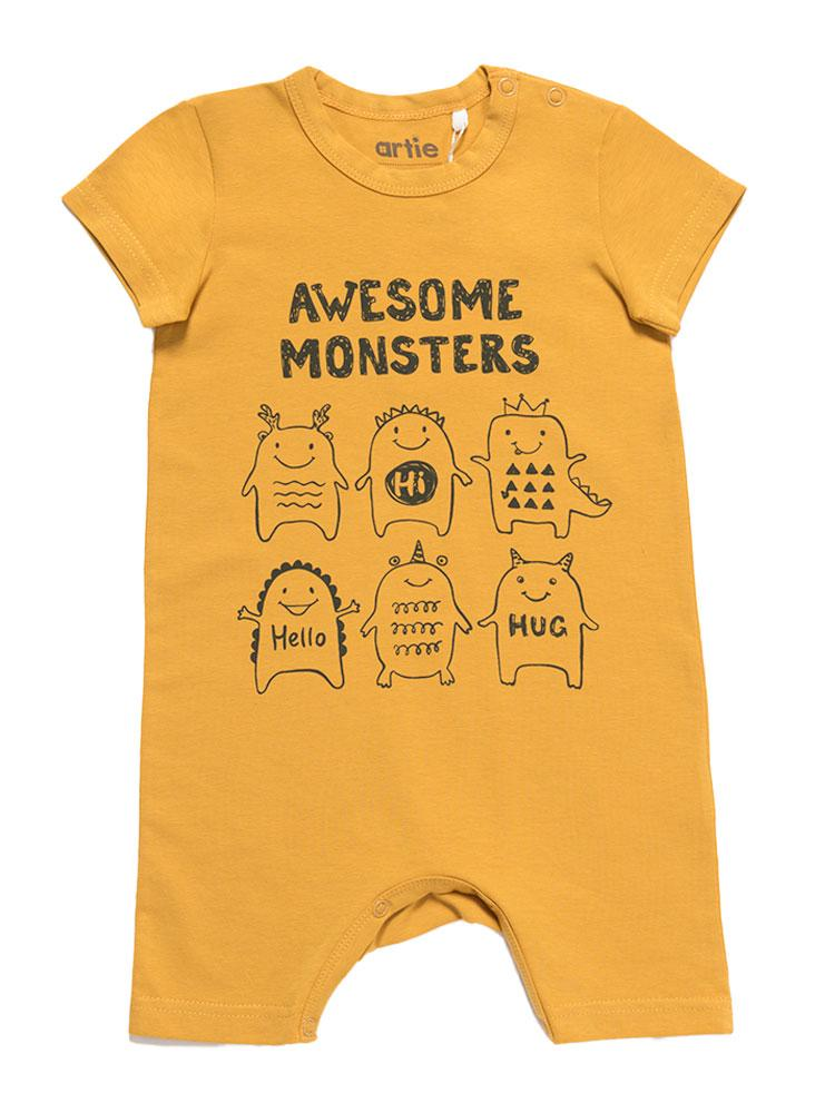 Artie - Awesome Monsters - Mustard Romper - Stylemykid.com