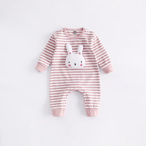 Padded Bunny - Striped Pink and White Onesie for Babies with Bunny Face - Stylemykid.com
