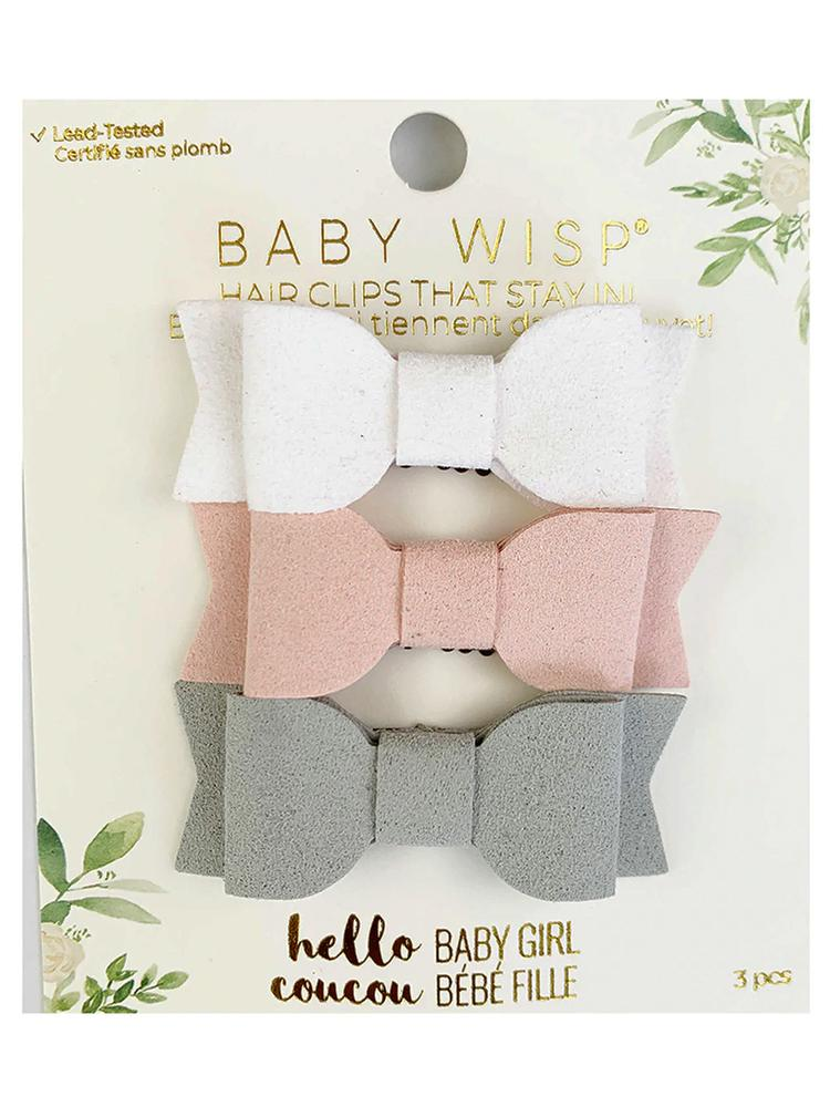 Baby Wisp - 3 Mini Latch Mia Bows for Fine and Wispy Baby Hair - 3pk in White, Pale Pink and Light Grey