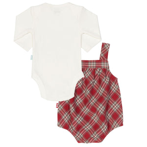 KITE Red and Cream Organic Check Bubble Style Romper Set - Stylemykid.com