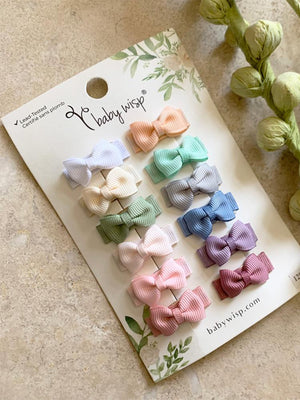 Baby Wisp - 12 pack Snap Bow Clips - Tuxedo Grosgrain Hair Bows - Classic Colours - Stylemykid.com