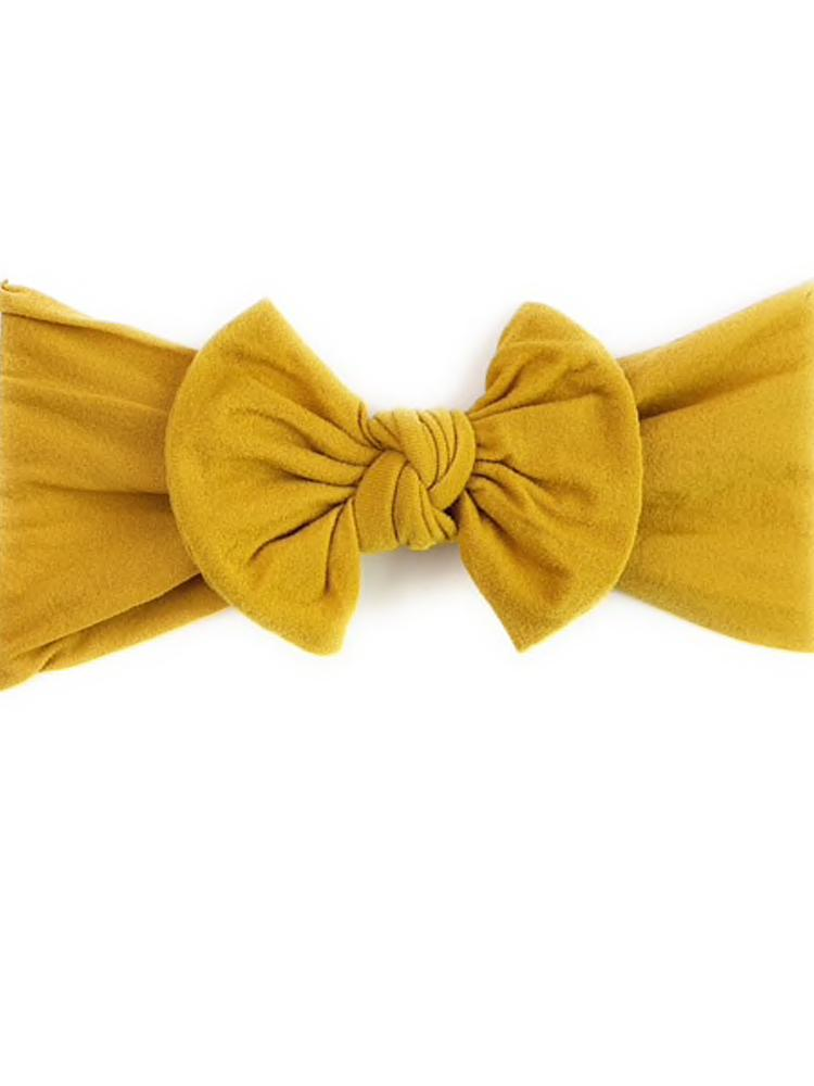 Baby Wisp - Baby & Little Girls Large Bow Headband - Mustard / Yellow - Stylemykid.com