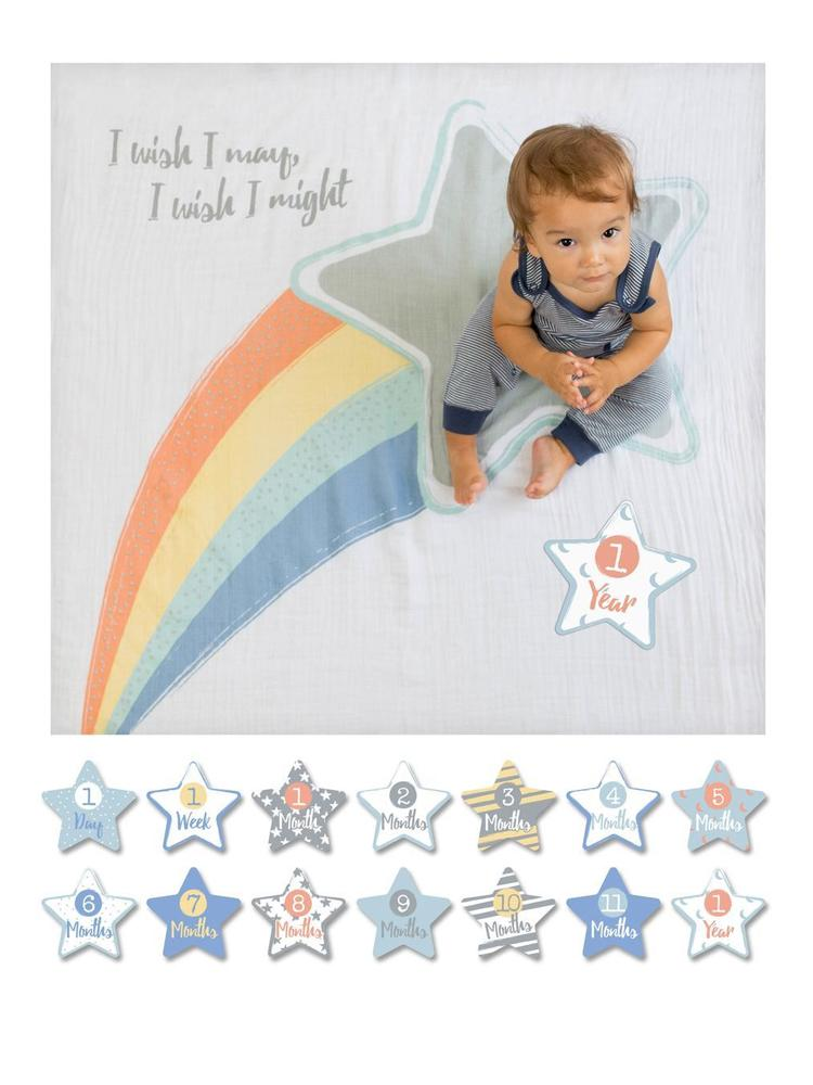Lulujo - Baby's 1st Year - I Wish I May - Blanket & Milestone Cards Set - Stylemykid.com