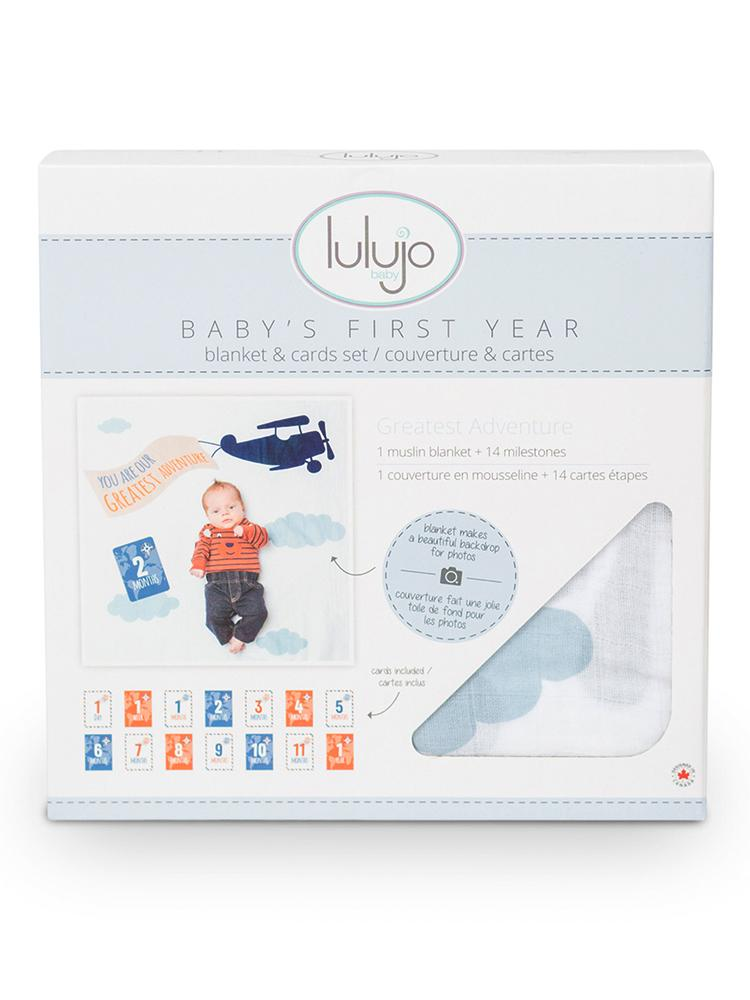 Lulujo - Baby's 1st Year Greatest Adventure - Blanket & Milestone Cards Set - Stylemykid.com