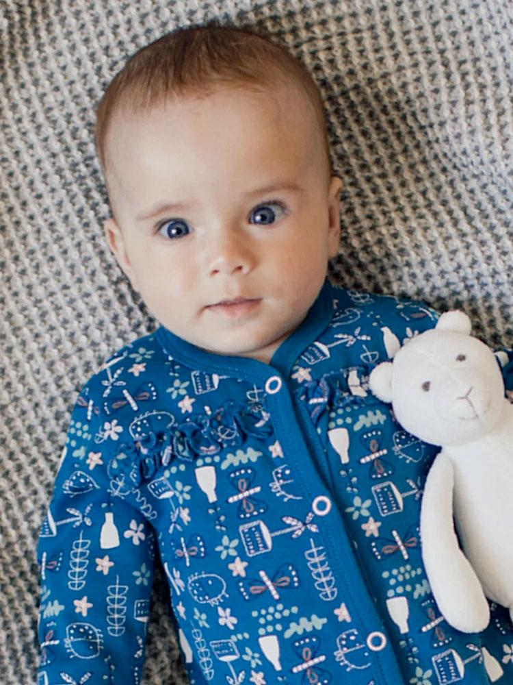 Artie - Baby Blue Patterned Sleepsuit - Stylemykid.com