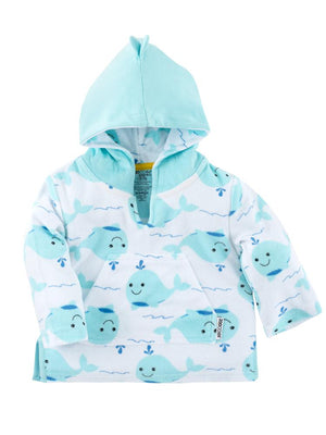 Zoocchini - Terry Bath & Swim Cover up with Character 3D Hood - Willy the Whale - Stylemykid.com
