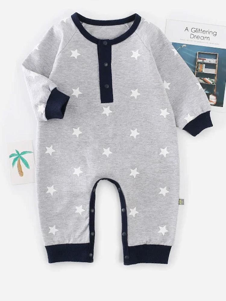 Baby Star - Grey and Black Onesie with White Stars Design - Stylemykid.com