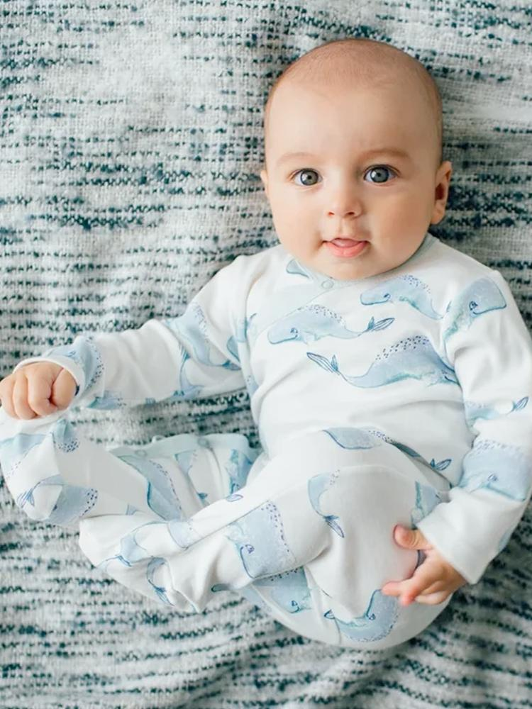 Artie - Baby Whale Patterned White Sleepsuit