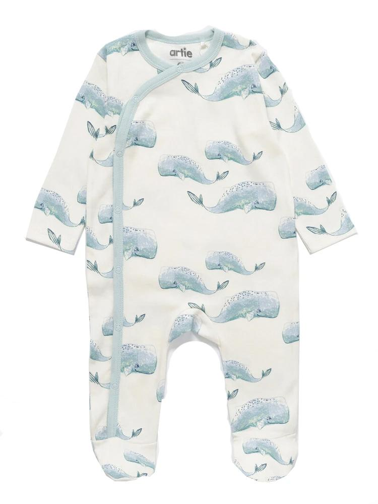 Artie - Baby Whale Patterned White Sleepsuit - Stylemykid.com