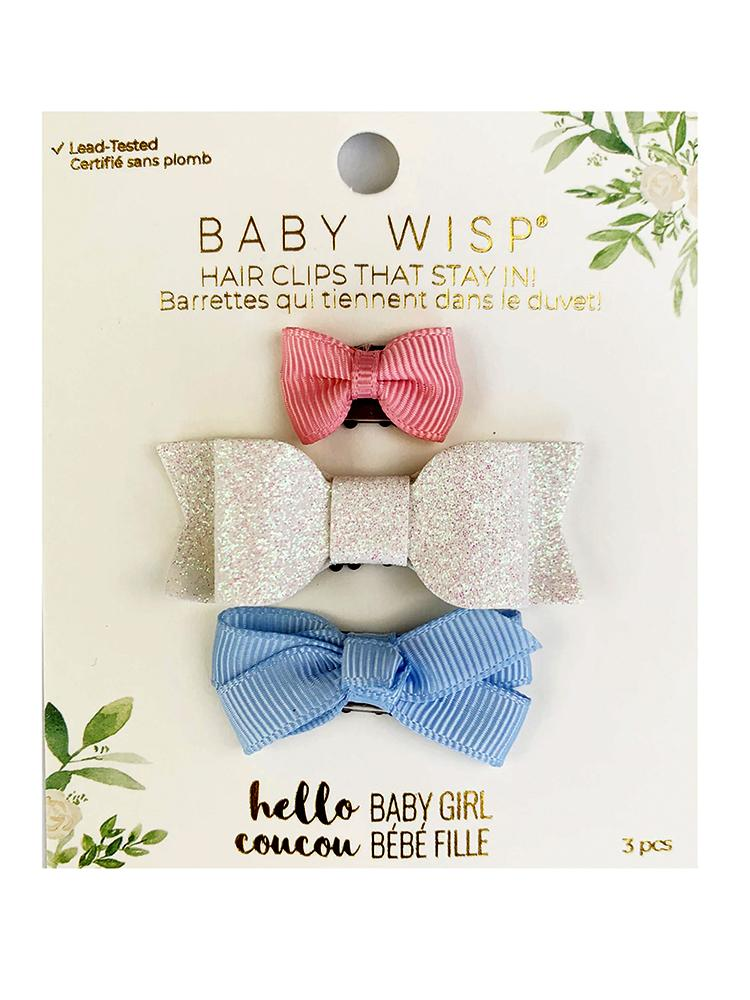 Baby Wisp - Mini Latch Bows for Fine and Wispy Baby Hair - 3pk in Pink, White Glitter & Bluebell - Stylemykid.com