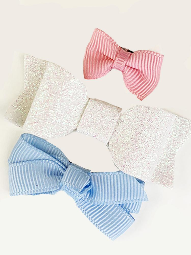 Baby Wisp - Mini Latch Bows for Fine and Wispy Baby Hair - 3pk in Pink, White Glitter & Bluebell