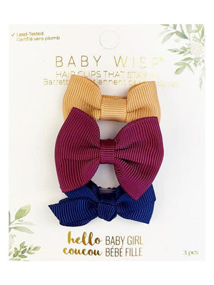 Baby Wisp - 3 Mini Latch Baby Bows for Fine and Wispy Baby Hair  - 3pk Bows in Vintage Gold, Burgundy & Navy - Stylemykid.com