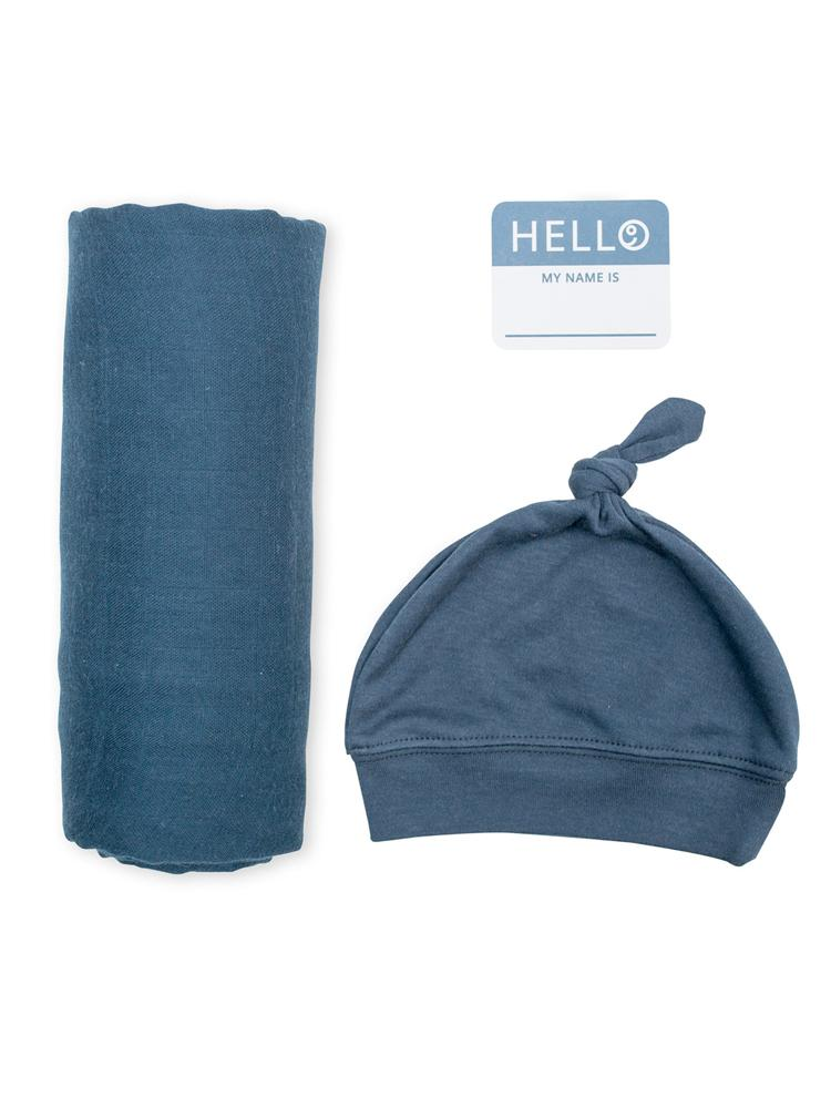 Lulujo - Bamboo Hat and Swaddle Blanket - Navy - Stylemykid.com