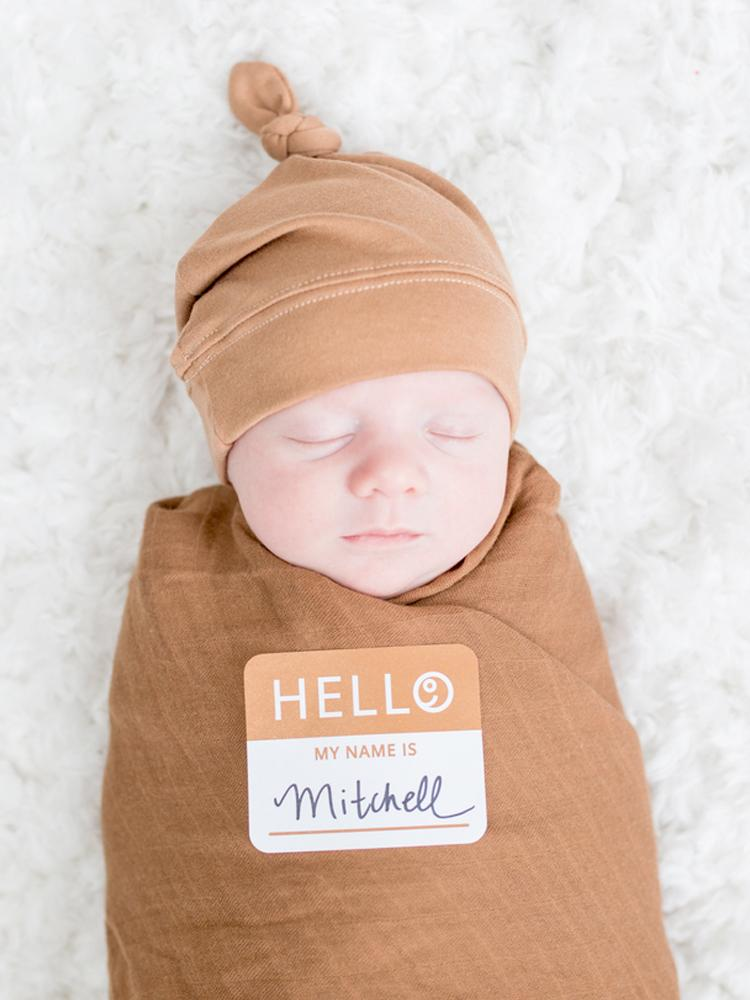 Lulujo - Bamboo Hat and Swaddle Blanket - Tan - Stylemykid.com