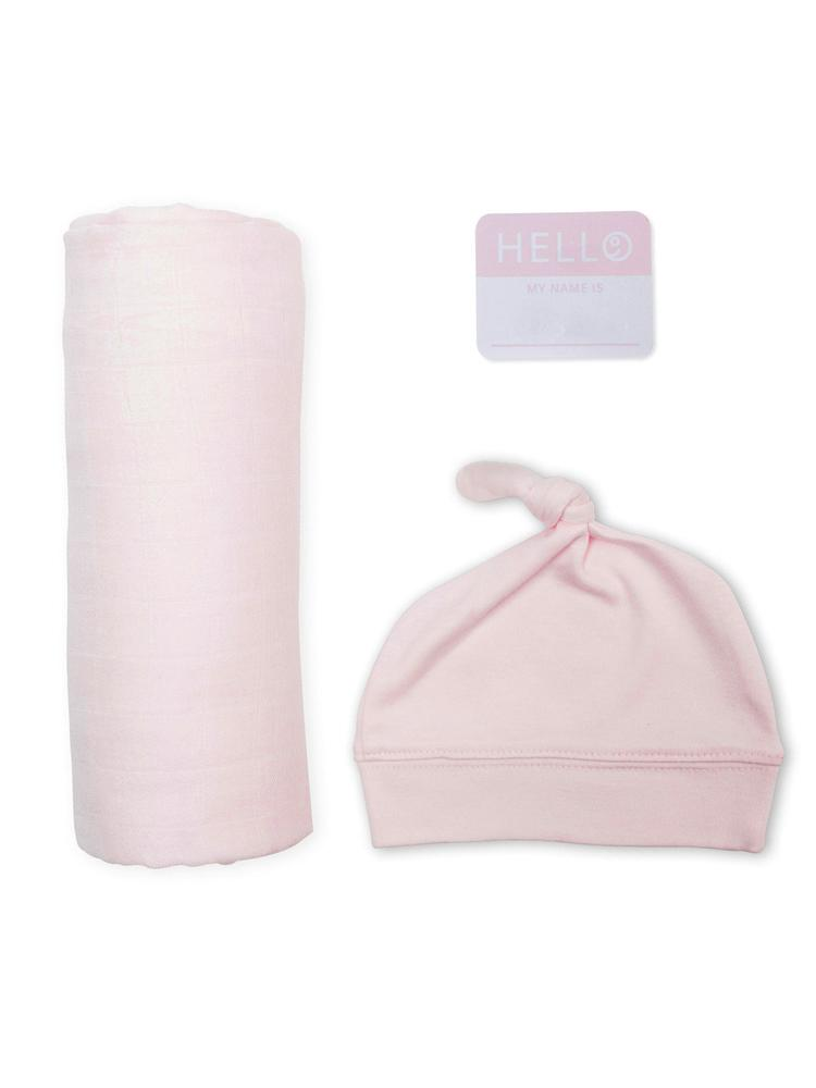 Lulujo - Bamboo Hat and Swaddle Blanket - Pink - Stylemykid.com