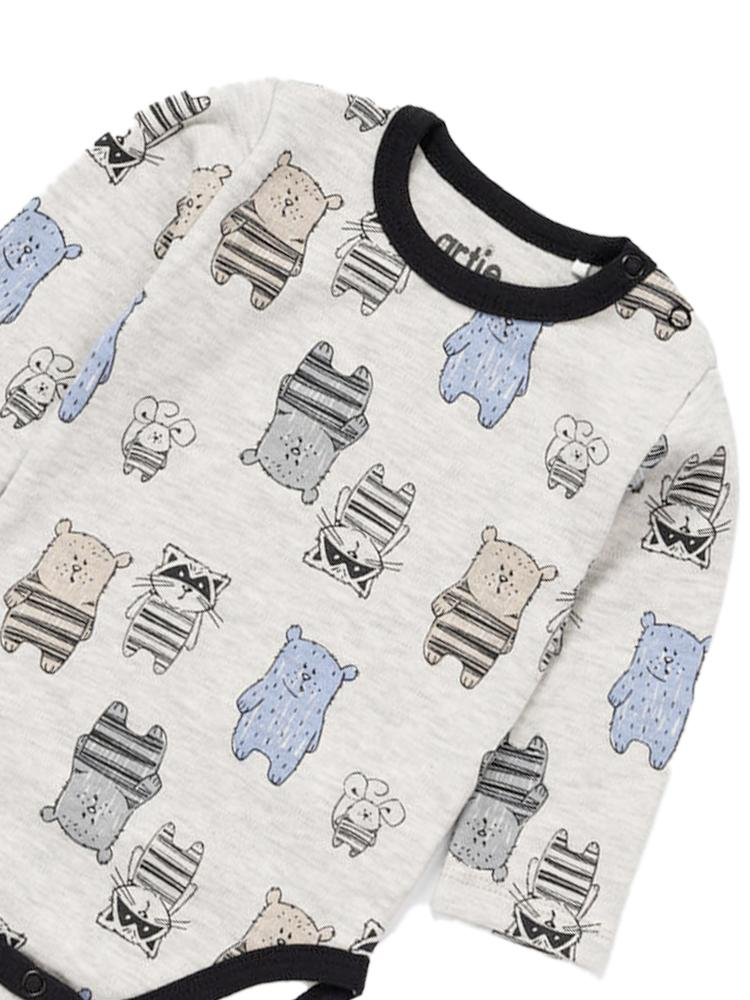 Artie - Baby Bear Grey Patterned Baby Long Sleeved Bodysuit - Stylemykid.com