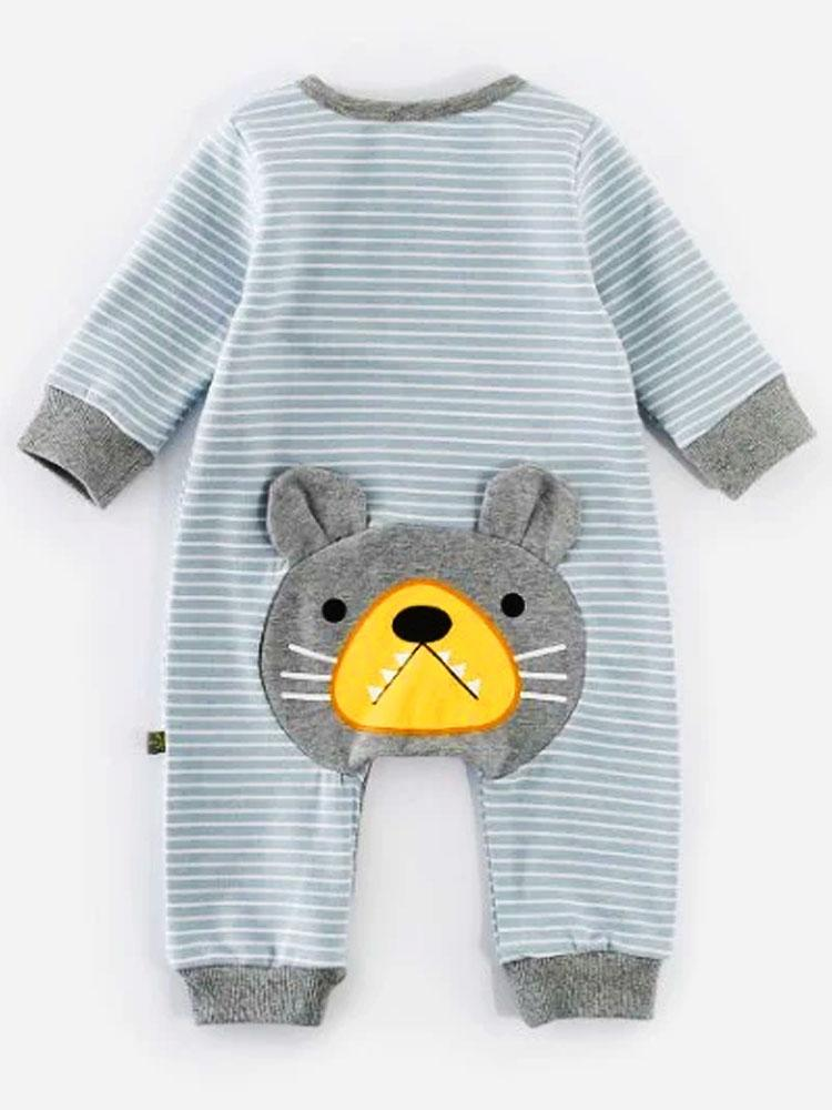 Bear Bottom - Striped Baby Sleepsuit with Bear Face on the Bottom! - Stylemykid.com
