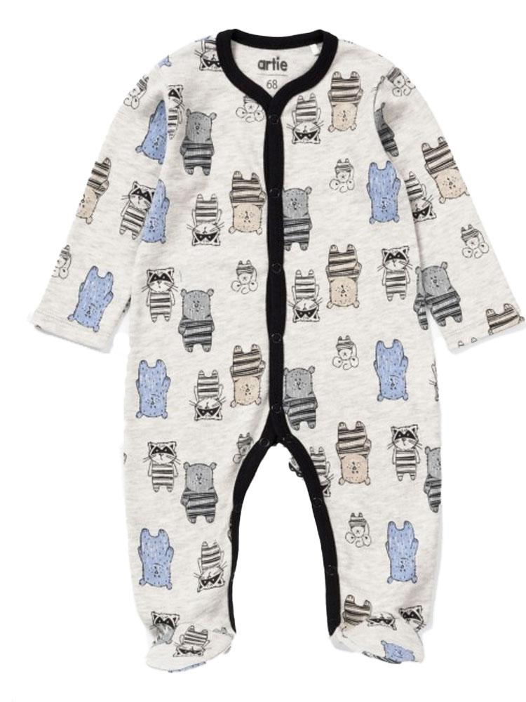 Artie - Baby Bear Grey Patterned Baby Sleepsuit - Stylemykid.com
