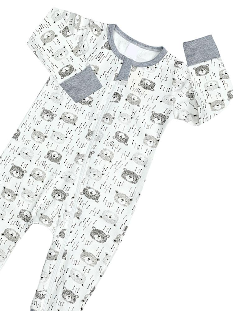 Bear Cubs Grey and White Baby Zip Sleepsuit with Hand & Feet Cuffs - NEW DESIGN - Stylemykid.com