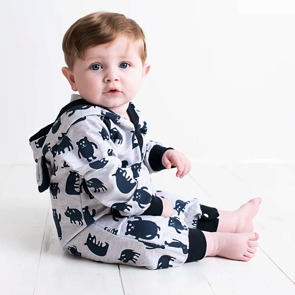Bear Hug - White and Blue Body Suit with Bear Design and Ears - Stylemykid.com