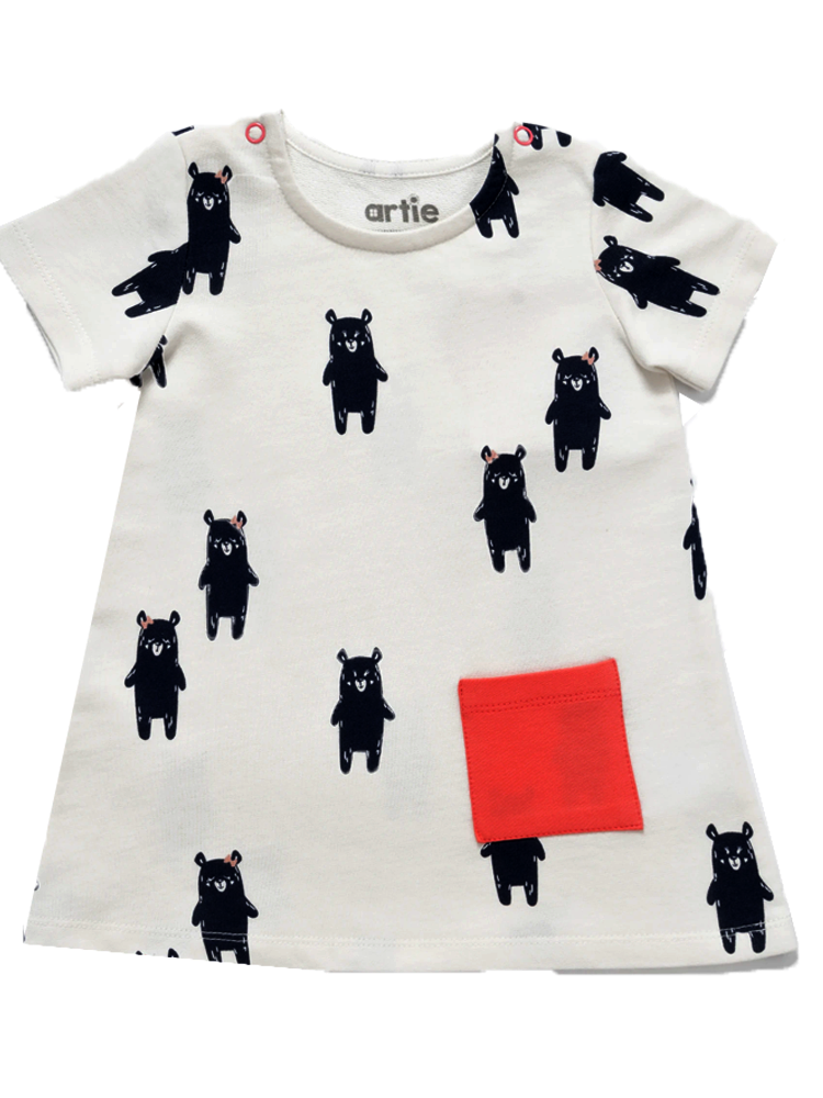 Artie - Beary Tunic - Girls White French Terry Tunic Dress with Playful Bear Navy Pattern - Stylemykid.com