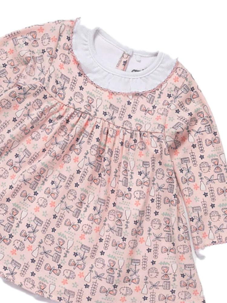 Artie - Busy Butterfly Dress (with intergrated babygrow) - Pink Patterned Girls Dress - Stylemykid.com
